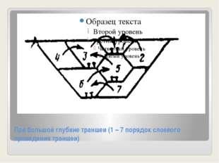 При большой глубине траншеи (1 – 7 порядок слоевого проведения траншеи)