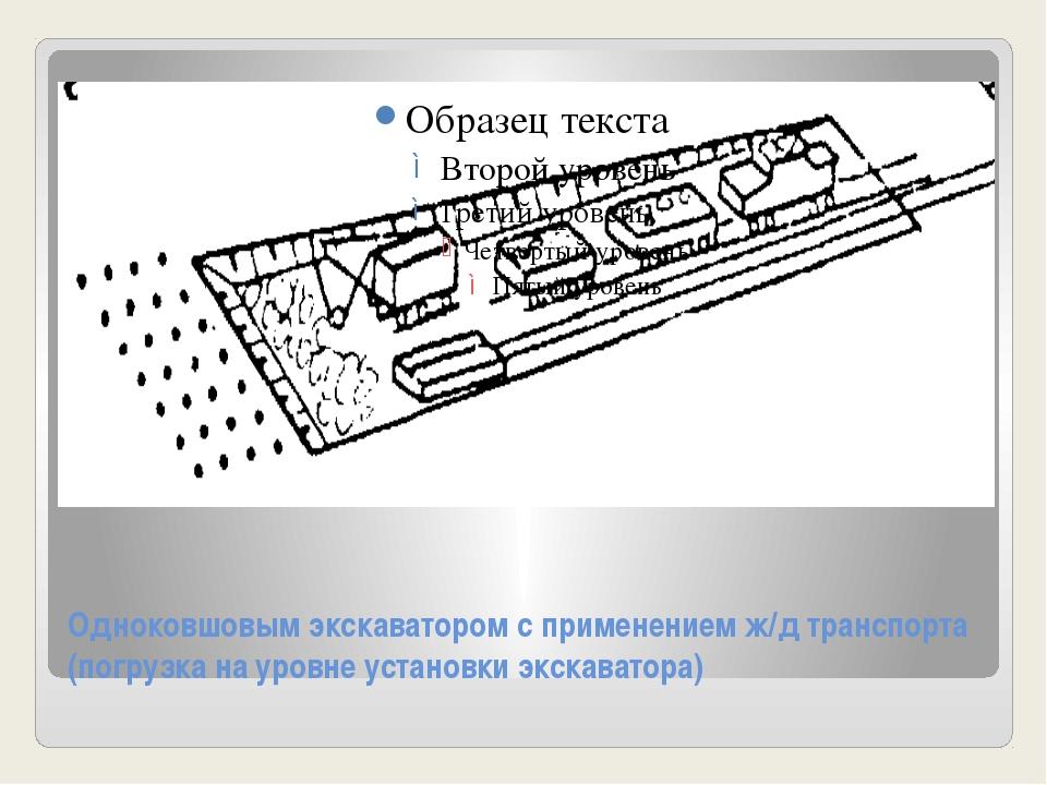 Одноковшовым экскаватором с применением ж/д транспорта (погрузка на уровне ус...