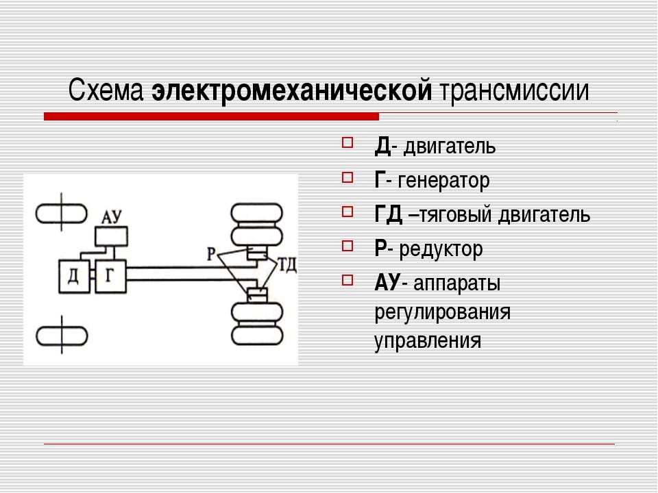 Схема электромеханической трансмиссии Д- двигатель Г- генератор ГД –тяговый д...