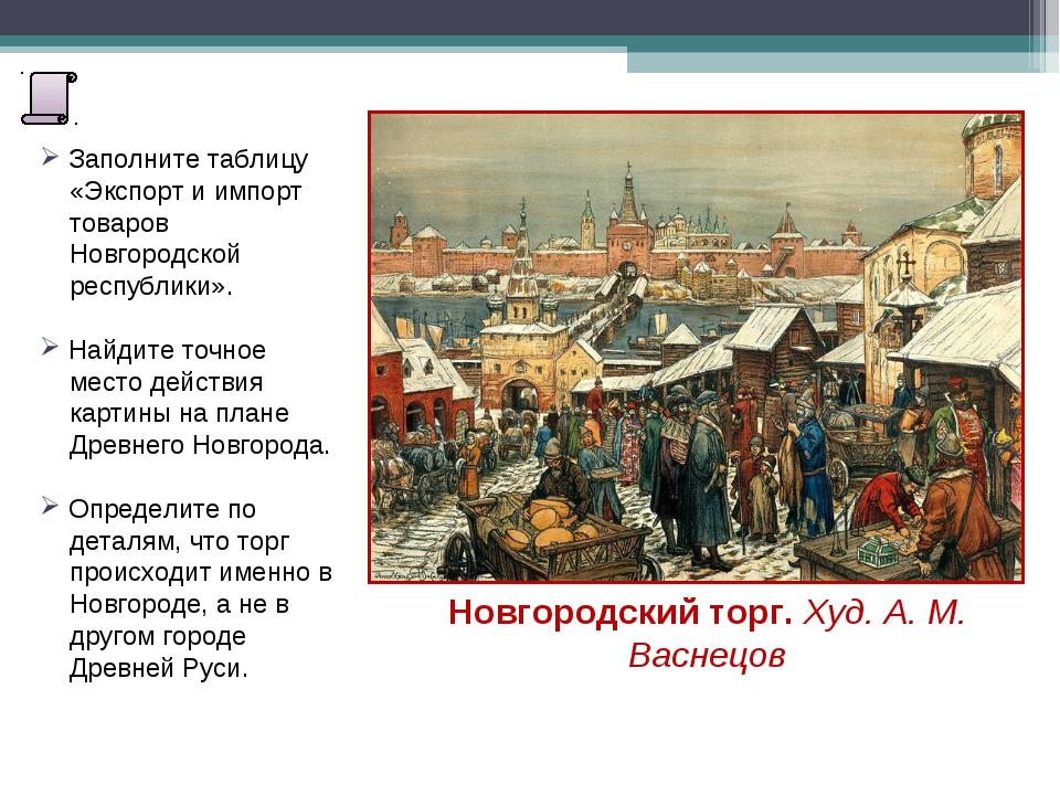 Заполните таблицу «Экспорт и импорт товаров Новгородской республики». Найдит...