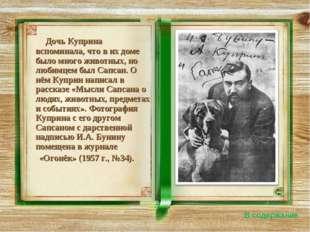 Дочь Куприна вспоминала, что в их доме было много животных, но любимцем был