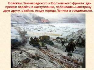 Войскам Ленинградского и Волховского фронта дан приказ: перейти в наступлени