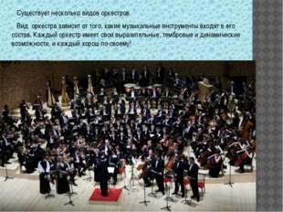 Существует несколько видов оркестров. Вид оркестра зависит от того, какие му