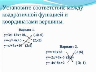 Установите соответствие между квадратичной функцией и координатами вершины.