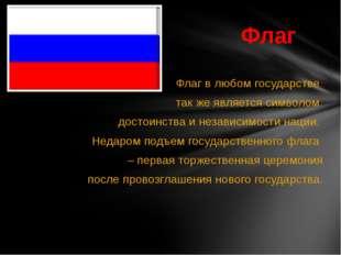 Флаг в любом государстве так же является символом достоинства и независимости