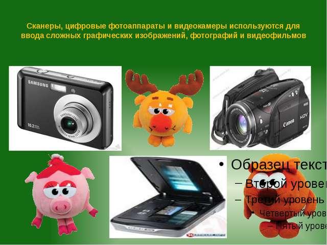 Сканеры, цифровые фотоаппараты и видеокамеры используются для ввода сложных г...