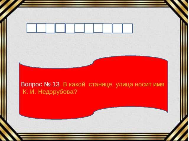 Вопрос № 13 В какой станице улица носит имя К. И. Недорубова?