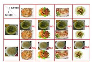 I блюдо II блюдо №1 №2 №3 №4 №5 №6 №7 №8