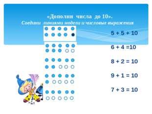 «Дополни числа до 10». Соедини линиями модели и числовые выражения «Дополни