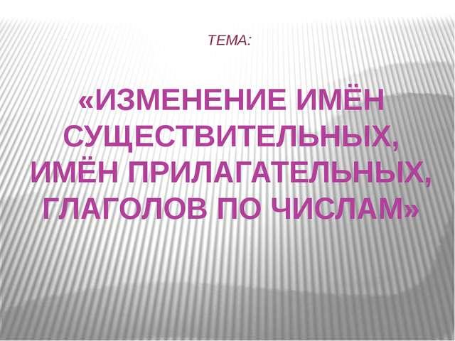 ТЕМА: «ИЗМЕНЕНИЕ ИМЁН СУЩЕСТВИТЕЛЬНЫХ, ИМЁН ПРИЛАГАТЕЛЬНЫХ, ГЛАГОЛОВ ПО ЧИСЛАМ»