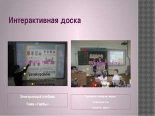 Интерактивная доска Электронный учебник Тема «Гербы» Просмотр слайдов, видео.