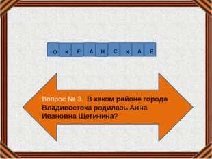 Вопрос № 3. В каком районе города Владивостока родилась Анна Ивановна Щетинин