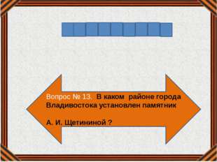Вопрос № 13. В каком районе города Владивостока установлен памятник А. И. Щет