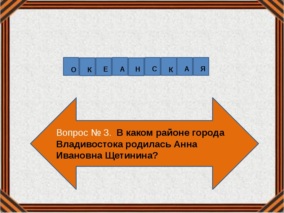Вопрос № 3. В каком районе города Владивостока родилась Анна Ивановна Щетинин...