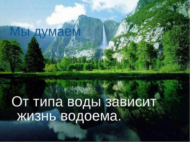 От типа воды зависит жизнь водоема. Мы думаем