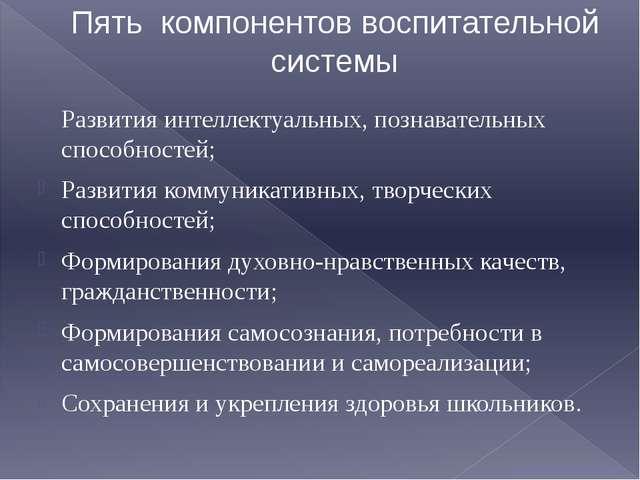 Пять компонентов воспитательной системы Развития интеллектуальных, познавател...
