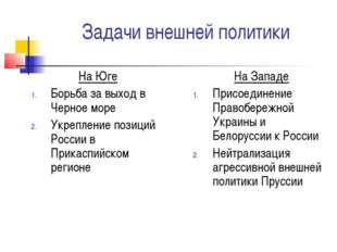 Задачи внешней политики На Юге Борьба за выход в Черное море Укрепление позиц