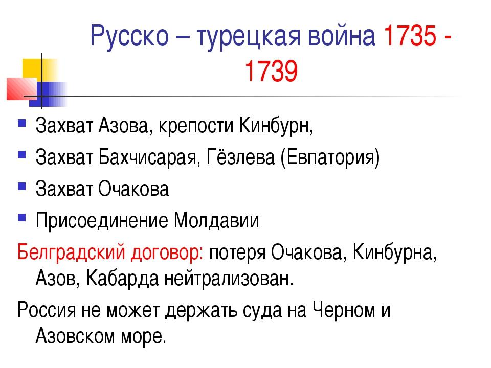 Русско – турецкая война 1735 - 1739 Захват Азова, крепости Кинбурн, Захват Ба...