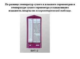 По разнице температур сухого и влажного термометров и температуре сухого терм