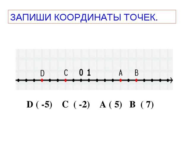 ЗАПИШИ КООРДИНАТЫ ТОЧЕК. D ( -5) C ( -2) A ( 5) B ( 7)
