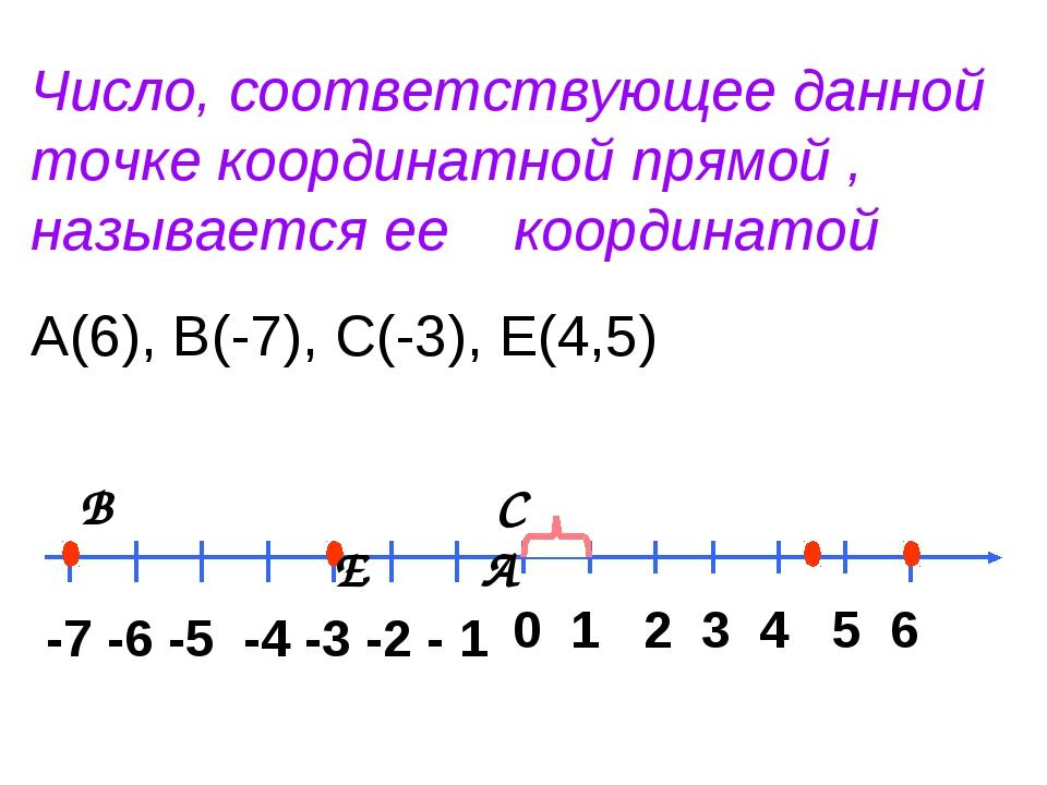 Число, соответствующее данной точке координатной прямой , называется ее коорд...