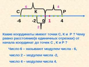 -6 -2 0 1 4 С К P Какие координаты имеют точки C, К и P ? Чему равно расстоя