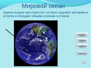 Мировой океан Единое водное пространство, которое окружает материки и острова