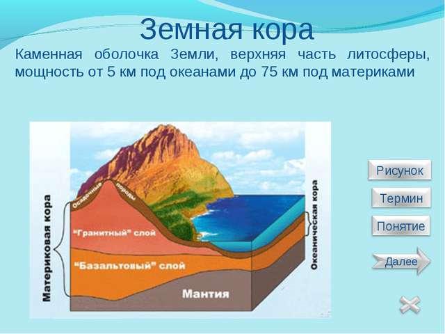 Земная кора Каменная оболочка Земли, верхняя часть литосферы, мощность от 5 к...