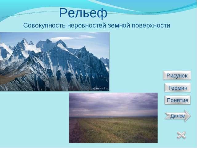Рельеф Совокупность неровностей земной поверхности