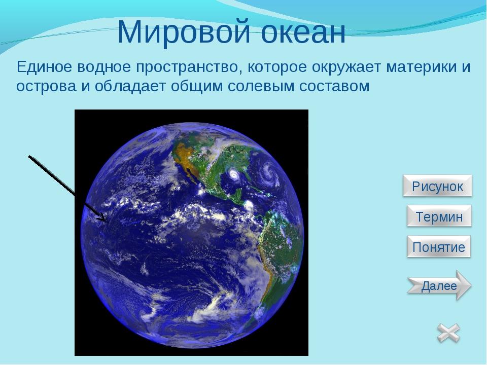Мировой океан Единое водное пространство, которое окружает материки и острова...