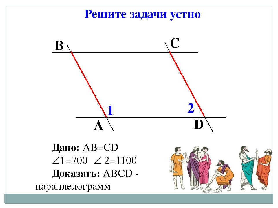 Решите задачи устно Дано: АВ=СD 1=700  2=1100 Доказать: АВСD - параллелогра...