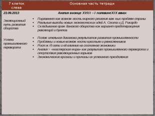 7клеток слева Основная часть тетради 23.09.2013 Эволюционныйпуть развития общ