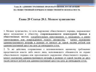 Глава 20. АДМИНИСТРАТИВНЫЕ ПРАВОНАРУШЕНИЯ, ПОСЯГАЮЩИЕ НА ОБЩЕСТВЕННЫЙ ПОРЯДОК