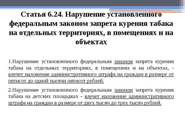 Статья 6.24. Нарушение установленного федеральным законом запрета курения таб...
