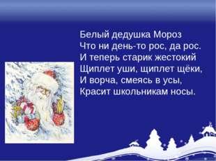 Белый дедушка Мороз Что ни день-то рос, да рос. И теперь старик жестокий Щипл