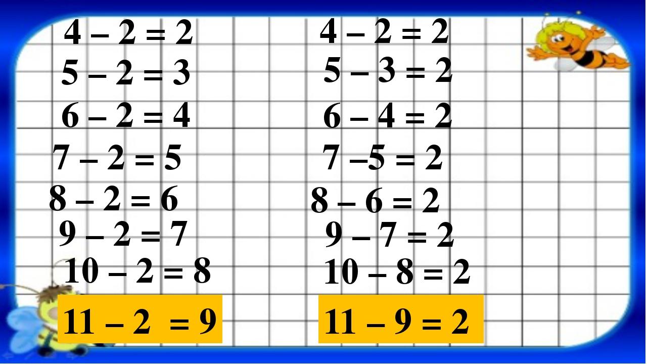 4 – 2 = 2 5 – 2 = 3 4 – 2 = 2 11 – 2 = 9 10 – 2 = 8 9 – 2 = 7 5 – 3 = 2 8 – 2...