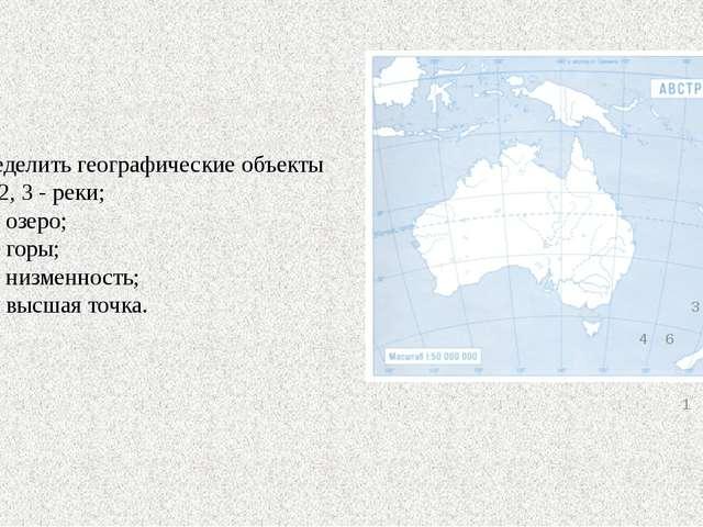 Определить географические объекты 1,2,3-реки;4-озера;5-горы;6-низменность 7-в...