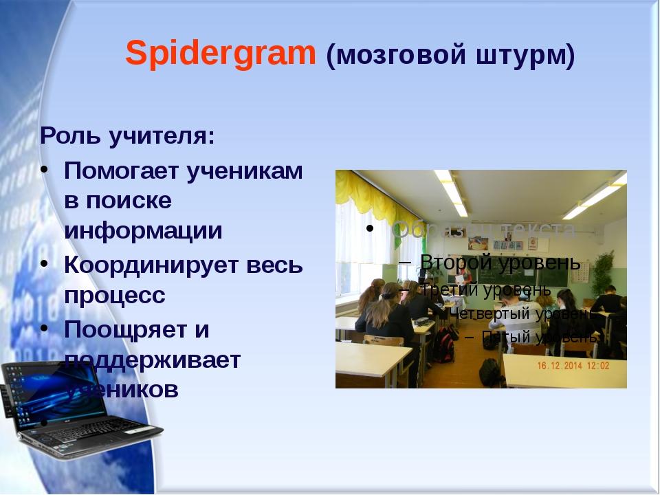 Spidergram (мозговой штурм) Роль учителя: Помогает ученикам в поиске информац...