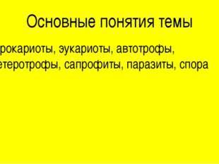 Основные понятия темы Прокариоты, эукариоты, автотрофы, гетеротрофы, сапрофит