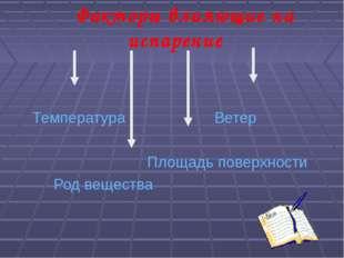Факторы влияющие на испарение Температура Ветер Площадь поверхности Род веще