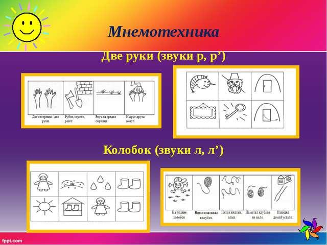 Мнемотехника Две руки (звуки р, р') Колобок (звуки л, л')