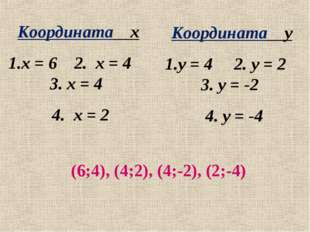 Координата х х = 6 2. х = 4 3. х = 4 4. х = 2 Координата у у = 4 2. у = 2 3.