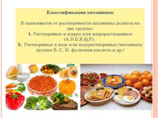Классификация витаминов В зависимости от растворимости витамины делятся на дв