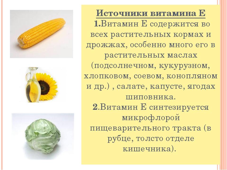 Источники витамина Е 1.Витамин Е содержится во всех растительных кормах и дро...