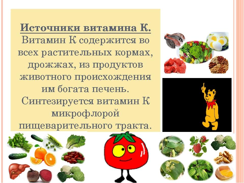 Источники витамина К. Витамин К содержится во всех растительных кормах, дрожж...