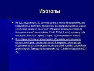 Изотопы На 2003 год известны 33 изотопа астата, а также 23 метастабильных воз