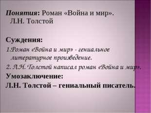 Понятия: Роман «Война и мир». Л.Н. Толстой Суждения: 1.Роман «Война и мир» -