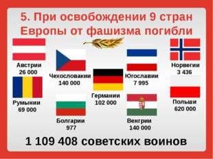 5. При освобождении 9 стран Европы от фашизма погибли Австрии 26 000 Норвегии