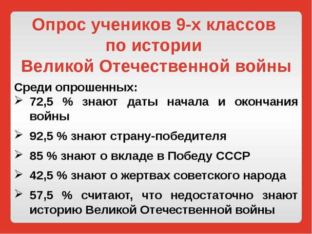 Опрос учеников 9-х классов по истории Великой Отечественной войны Среди опрош...