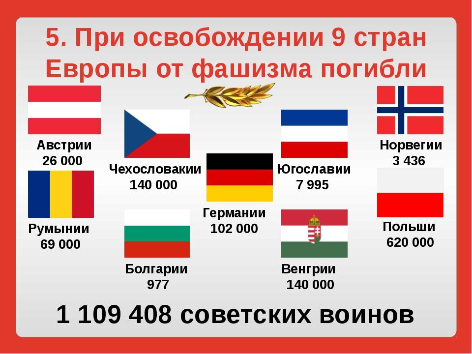 5. При освобождении 9 стран Европы от фашизма погибли Австрии 26 000 Норвегии...